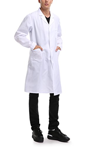 Taylor Eddie Men's White Lab Coat Full Length with Three Pockets