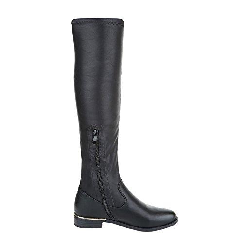 Ital-Design Komfortstiefel Damenschuhe Klassischer Stiefel Blockabsatz Blockabsatz Reißverschluss Stiefel Schwarz