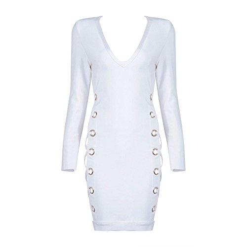 Rayon Bandage HLBandage Sleeve Weiß Mini Lacing Dress Cross Neck Sides V Long Women's Strap zzRw6q