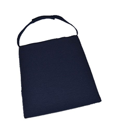 (In/Outdoor Soho Rattan Wicker/Banana Leaf/Seagrass Parson Chair Trapezoid Foam Seat Cushion w/Strap - Solid Navy Blue - 16