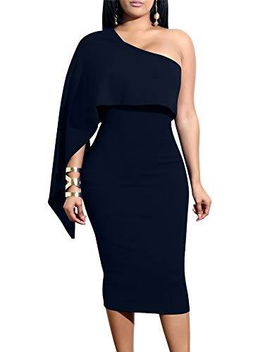 GOBLES Women's Summer Sexy One Shoulder Ruffle Bodycon Midi Cocktail Dress Navy