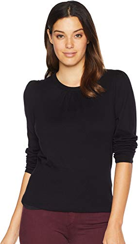 Vince Camuto Womens Long Puff Sleeve Rib Hem Crew Neck Sweater Rich Black ()