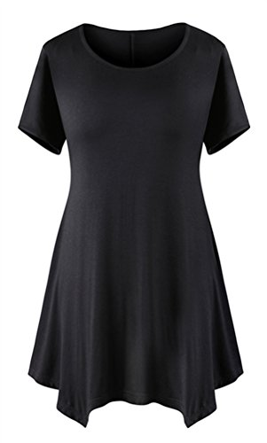 DB MOON Womens Tunic Tops Short Sleeve T Shirts Dress ( S-XXXL ) – Small, Db01 Black