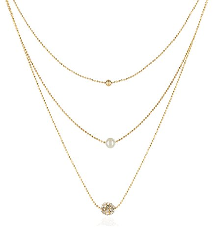 INPINK Fashion Jewelry Trajectory Triple Chain Necklace in Gold-Tone (Triple Layered Necklace)