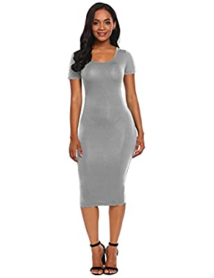 Beyove Women's Classic Sweetheart Short Sleeve Slim Fit Sexy Party Midi Dress