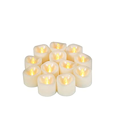 Flameless Candles - Flickering Realistic Led Tea Lights With Timer - 6Hrs on and 18 Hrs off, Battery Operated Votive Candle,Long Battery Life,200+ Hours,Batteries Included[12 Pack]