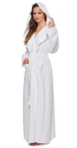 Arus Womens Princess Robe Ankle Long Hooded Silky Light Turkish Cotton Bathrobe White Medium