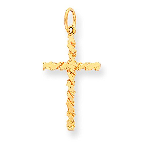 10K Gold Nugget Cross Charm Pendant Jewelry 30 x (Nugget Charm Pendant)