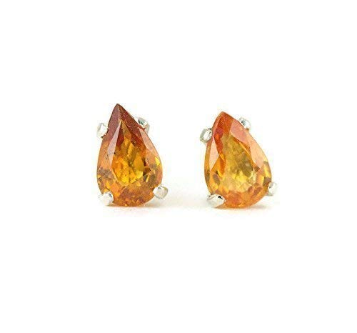 Sapphire Studs - Pear Cut Sapphire Earrings 1 ctw - Blue, Orange, Green and Pink Choices