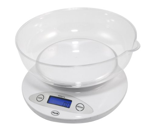 American Weigh Scales 5KBOWL 5KG Digital Kitchen Scale with Removable Bowl, White