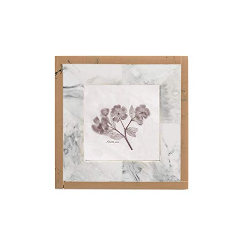 FLOOR | 9 Standing Inlay Picture Frame, 3x3, Sqaure Frame with Stand, Blush and White Marble