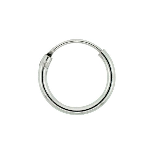Sterling Silver Small Endless Hoop Earrings for Cartilage Nose and Lips 3/8 inch 8mm