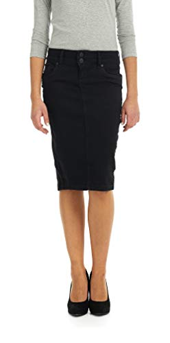 Esteez Jean Skirt for Women Below Knee Skirt Beverly Hills Black ()