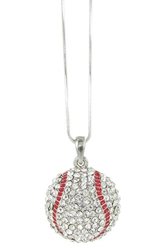 Half Sphere Baseball Rhinestone Pendant Necklace - Clear Crystal and Red Enamel