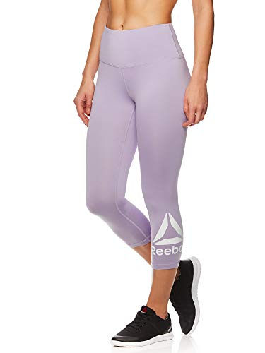 Reebok Women's Capri Leggings w/High-Rise Waist - Cropped Performance Compression Tights - Wisteria, Small (For Gym Women Clothes)