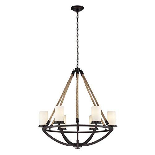 Elk 63042-6 Natural Rope 6-Light Chandelier, 29 by 32-Inch, Aged Bronze Finish, 32