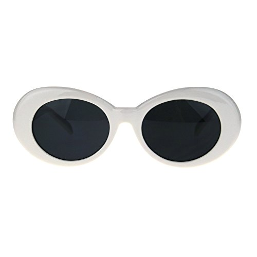 Womens Oval Round Thick Plastic Vintage 20s Mod Sunglasses White (1920s Sunglasses)