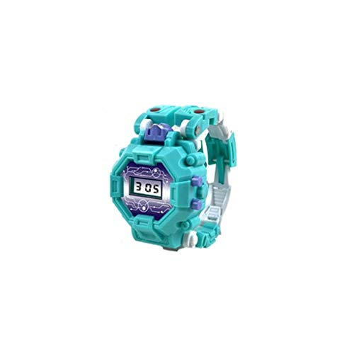 VEZAD Electronic Deformation Watch Children Creative Manual Transformation Robot Toys (Blue)