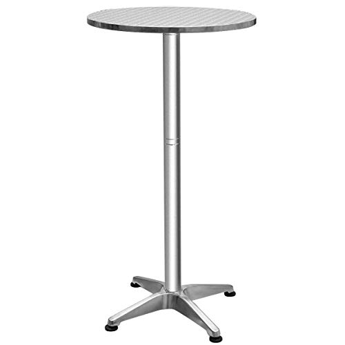 (Stainless Steel Aluminium Round Folding Desktop Bar Table Solid and Durable Construction Garden Poolside Kitchen Useful Furniture Pub Indoor Outdoor Decor)