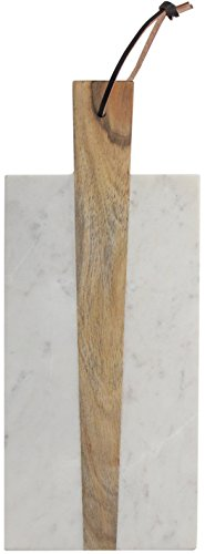 American Atelier Marble and Wood Rectangular Cutting Board, 15 x 6 inches
