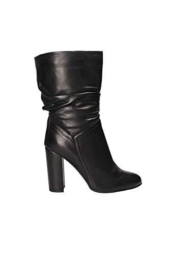 Bottine Noire Noir Nero Froncée 3 Caf 010 4 Le441 Cuir Femme Chaussure wXF6Id