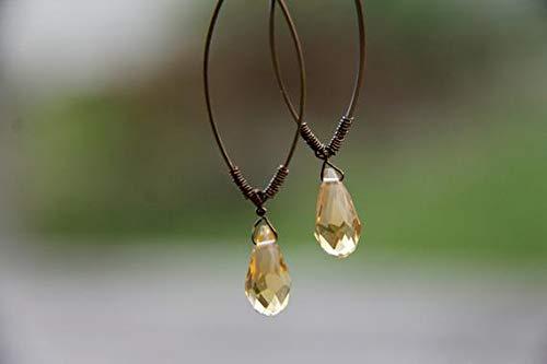 hongnguyen Golden Honey Faceted Citrine Quartz Teardrop Briolette Drop Geometric Wire Wrapped Bronze Earwires French Hooks Yellow Gold Minimalist Art