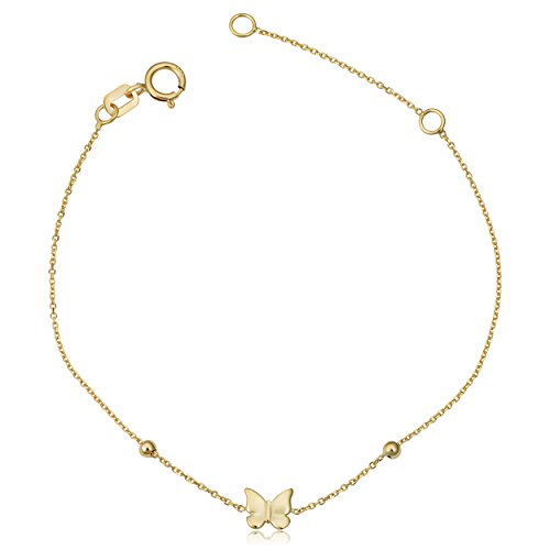 Children's 14k Yellow Gold Butterfly Bead Adjustable Length Bracelet (adjust to 5.5