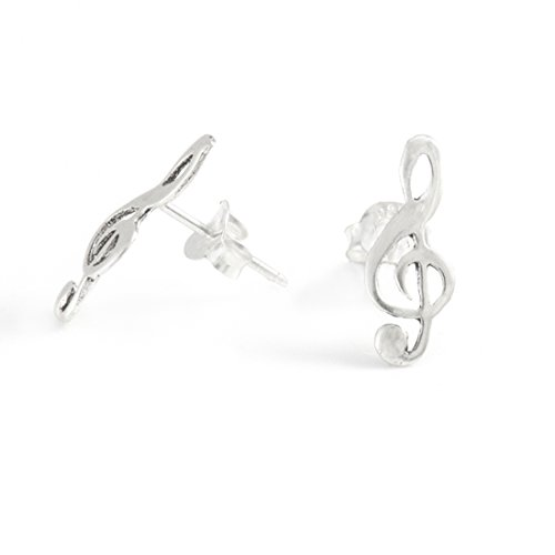Musical Note Earrings - Silverly Womens .925 Sterling Silver Treble Clef Musical Note Stud Earrings