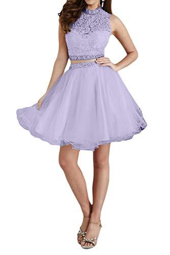 Partykleider Festlichkleider Cocktailkleider Spitze Brau Lilac Zwei mia Mini La Promkleider Abendkleider teilig Tanzenkleider q405C