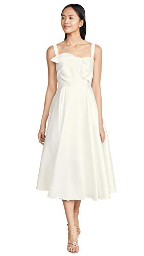 Marchesa Notte Women's Tea Length Gown with Draped Bodice, Ivory, White, Off White, 8 ()