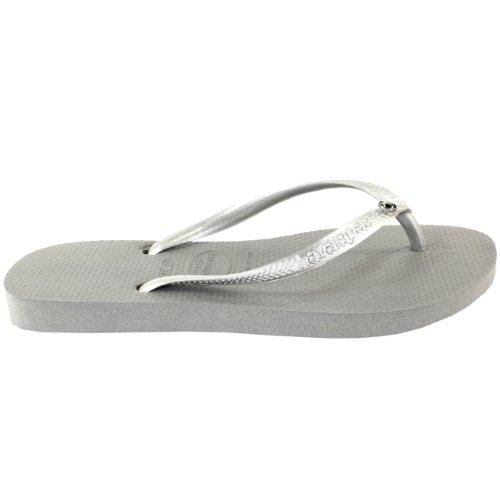 Womens Havaianas Glamour Diamante Flip Flop Summer Sandals Grey wxycLw