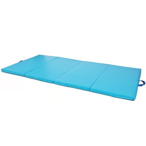 Blue 4'x10'x2'' Gymnastics Gym Folding Exercise Aerobics Tumbling Karate Yoga Mat by Clevr