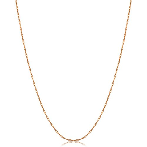 Kooljewelry 14k Rose Gold Dainty Rope Chain Necklace (0.8 mm, 18 - Rose Gold Charm 14k