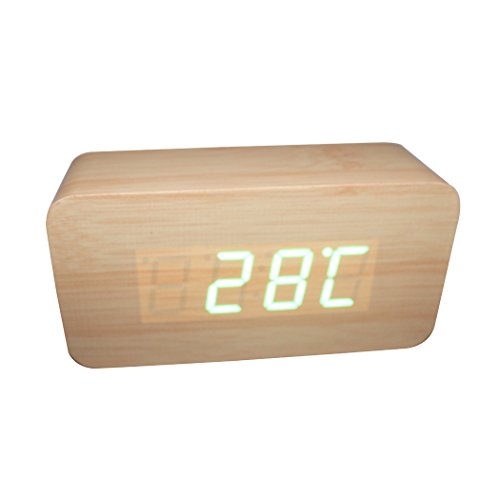 AAA Thermometer Date Display Wooden Wood Square LED Alarm Clock