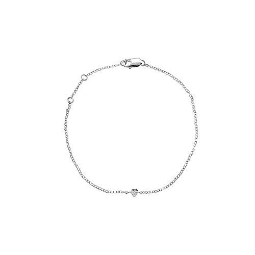 Or Blanc 9 ct Bracelet Diamant en forme de Cœur, 0.05 Ct Diamant, GH-SI, 1.87 grammes.