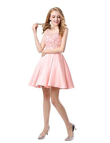 Lx439 Breve Da Ritorno rosa Partito Abiti Belle Casa Prom Ballo Pizzo Di Junior Fidanzata Abiti HUxqBWB