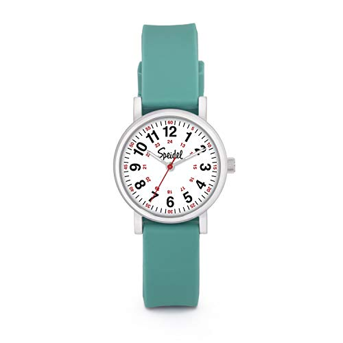 Speidel Women's Teal Scrub Petite Watch for Medical Professionals - Easy to Read Small Face, Luminous Hands, Silicone Band, Second Hand, Military Time for Nurses, Students in Scrub Matching Colors