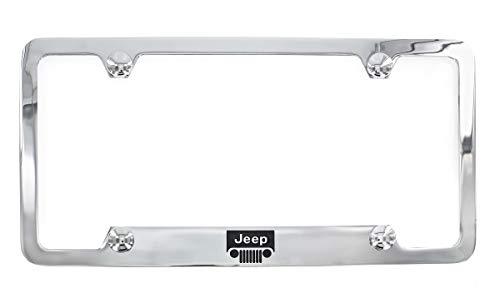 (Jeep Logo Chrome Plated Metal Top Engraved License Plate Frame Holder)