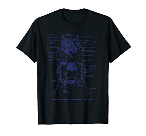 NASA Lunar Module Spacecraft Blueprint Tshirt