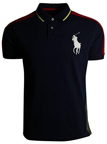 RALPH LAUREN Polo Mens Custom Slim Fit Big Pony Mesh Polo Shirt (Small, Black - Big Watch Polo