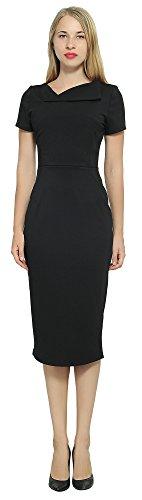 Marycrafts Women's Office Business Short Sleeve Pencil Midi Dress 10 Black]()