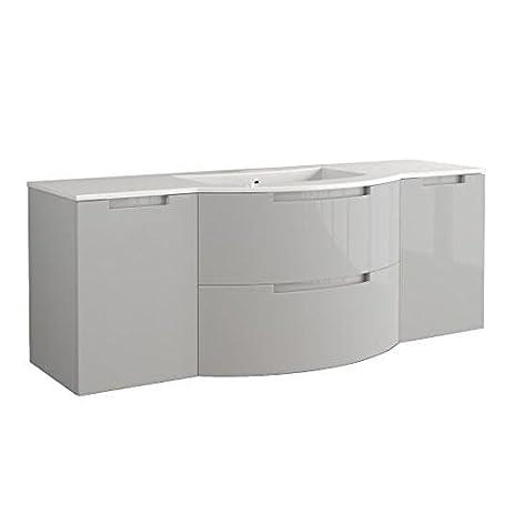 Latoscana Oasi 67u0026quot; Grey Glossy Bathroom Vanity OA67OPT4G