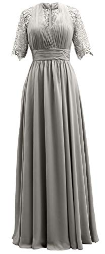 Women Short Formal Mother of Evening MACloth Silver Dress Sleeves Gown The Lace Bride pBwqdqx5R