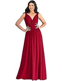 7c6a04b7a95 Womens Long Sleeveless Flowy Bridesmaid Cocktail Evening Gown Maxi Dress