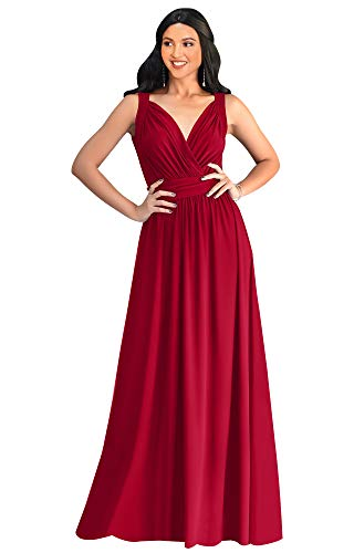 KOH KOH Womens Petite Long Sleeveless Flowy Bridesmaids Cocktail Party Evening Formal Sexy Summer Wedding Guest Ball Prom Gown Gowns Maxi Dress Dresses, Red XS 2-4