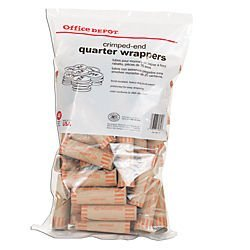 Office Depot Preformed Tubular Coin Wrappers, Quarter, Pack Of 48, 2160611D16