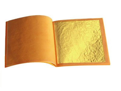 Genuine gold Leaf Booklet (10 Sheets/loose edible Type) 1.6 inch 4.5 cm