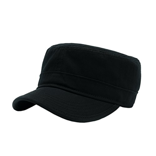 Cotton Army Cap - Duolaimi Washed Cotton Trucker Hat Army hat Military Cap for Unisex Adult (Black)
