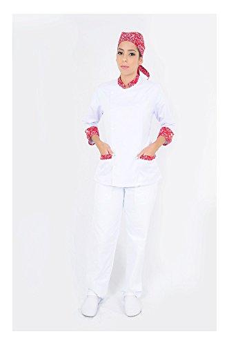 DAM UNIFORMS Women´s 3/4 Sleeves White Details Red Chef Coat
