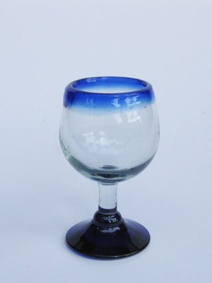Mexican Blown Glass Stemmed Tequila Sippers Cobalt Blue Rim (Set of 6)